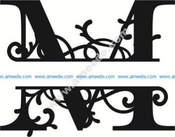 Flourished Split Monogram M Letter