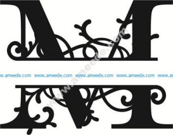 Flourished Split Monogram M Letter