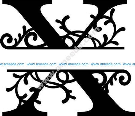 Flourished Split Monogram X Letter
