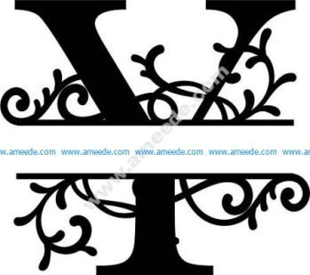 Flourished Split Monogram Y Letter