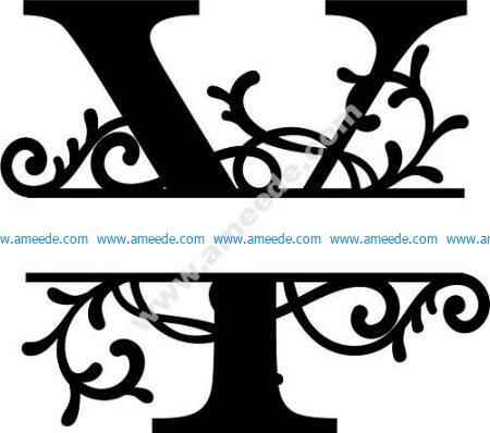 Flourished Split Monogram Y Letter