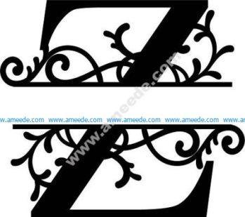 Flourished Split Monogram Z Letter