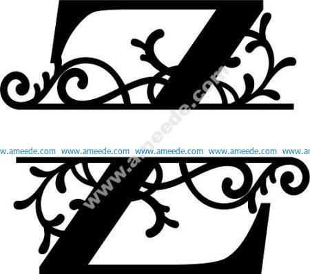 Flourished Split Monogram Z Letter