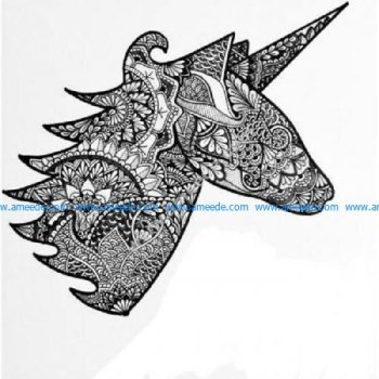 Hand drawn zentangle unicorn