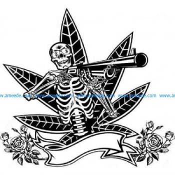 Skeleton with shotgun cannabis roses