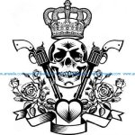 Skull with crown rose and gun