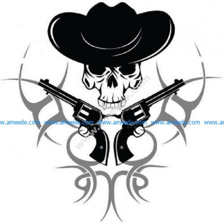 Tribal cowboy skull with guns
