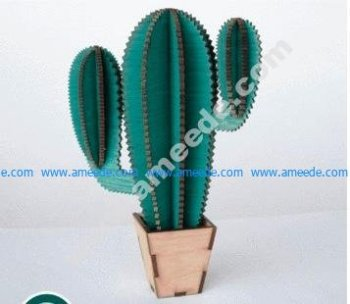 Wooden Cactus Laser Cut