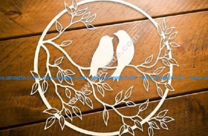 love birds on tree branch free laser cut files