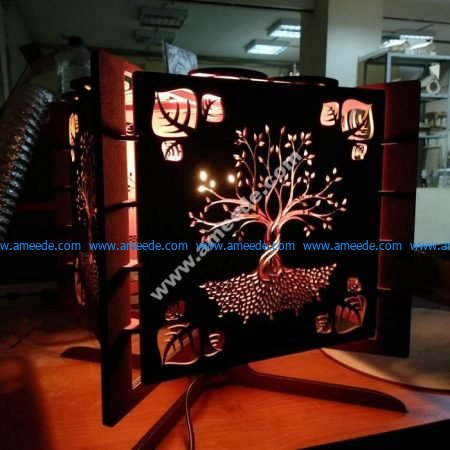 wood laser cut lamp