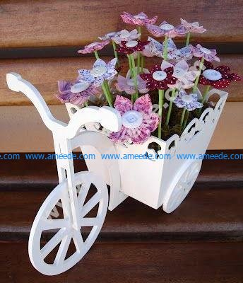 Laser Cut Bicycle with Flower Box