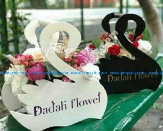 Laser Cut Flower Basket Swans