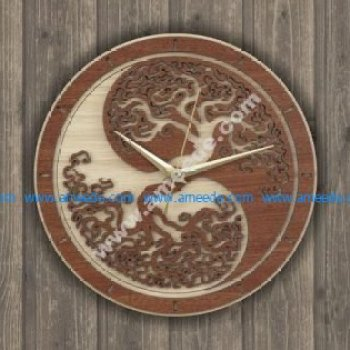 Laser Cut Wall Clock Tree