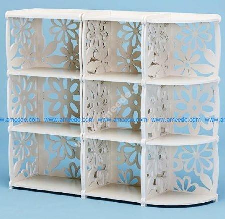 Vector Laser Cut Decorative Shelf Bookcase