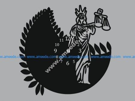 Wall Clock Art Femida Woman Of Justice