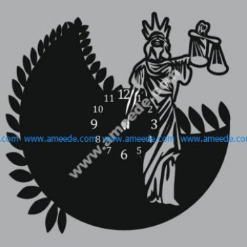 Wall Clock Art Femida Woman Of Justice