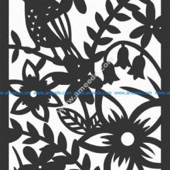 art panel bird and flower