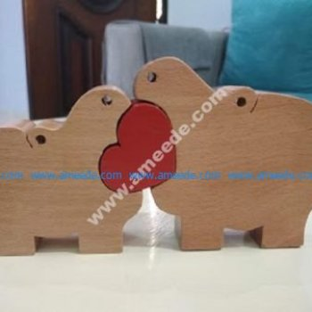 rhino wooden puzzle toy
