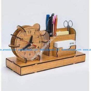 wooden desktop clock card pen