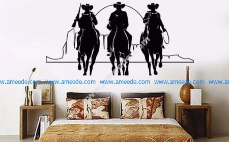 Home Decor Vinyl Wall Decal Western Cowboys