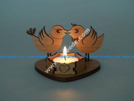 Sample of laser cutting base of romantic candles