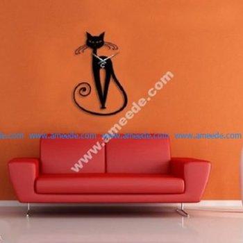 Sample cat-shaped wall clock laser cut