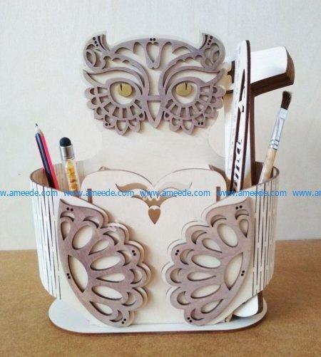 Sample of laser cutting owl pen case