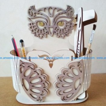 Sample of laser cutting owl pen case