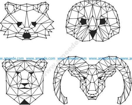 head of bear, cat, owl
