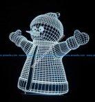 3d illusion lights image of snowman