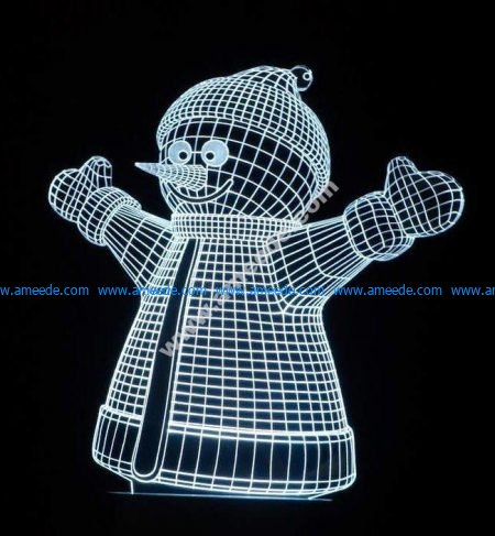 3d illusion lights image of snowman