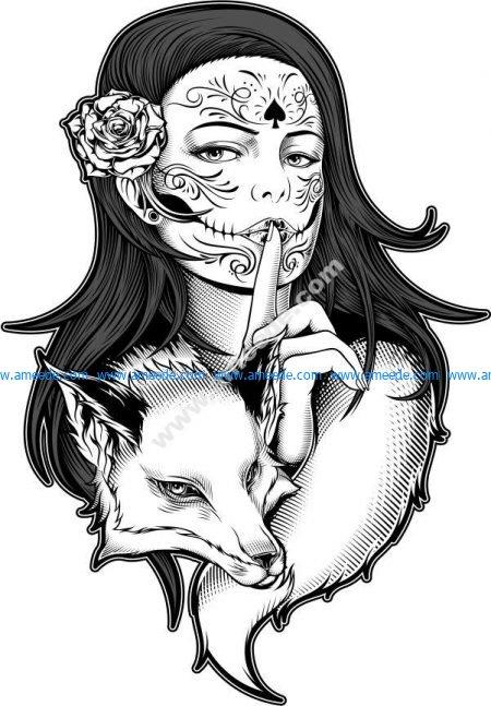 Beautiful woman with fox vector art