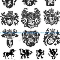 Heraldic Design Lions And Shield