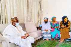 Chairman/Chief Executive of the National Drug Law Enforcement Agency, NDLEA, Gen. MB Marwa (Retd), OFR during a condolence visit to the family of Late Alh. Ahmed Joda in Yola, Ada