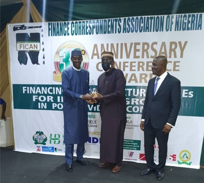 NDIC's Director, Communication & Public Affairs, Mr Bashir Nuhu at Finance Correspondents Association of Nigeria (FICAN) event today in Lagos.