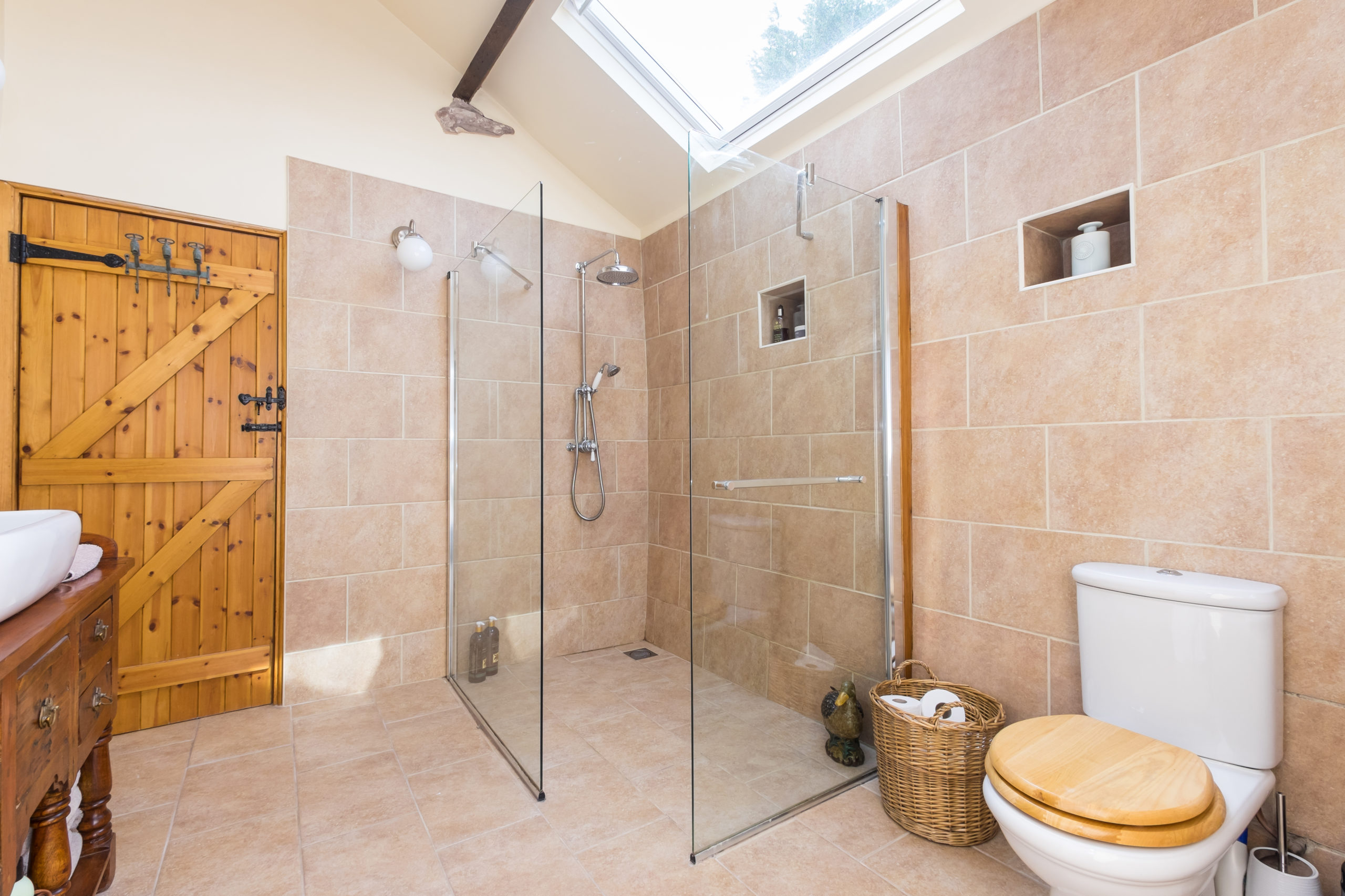 Large rustic wetroom walk in shower large velux