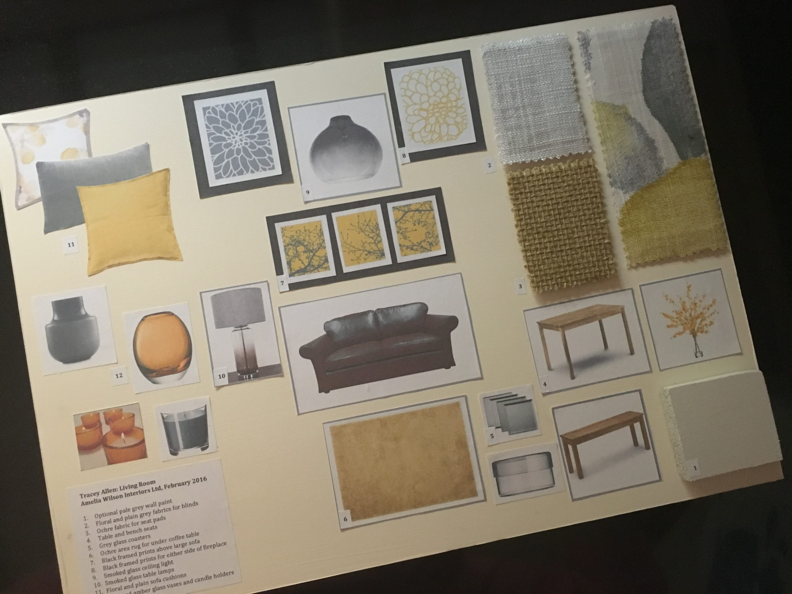 Mood board for living room refresh by Amelia Wilson Interiors Ltd