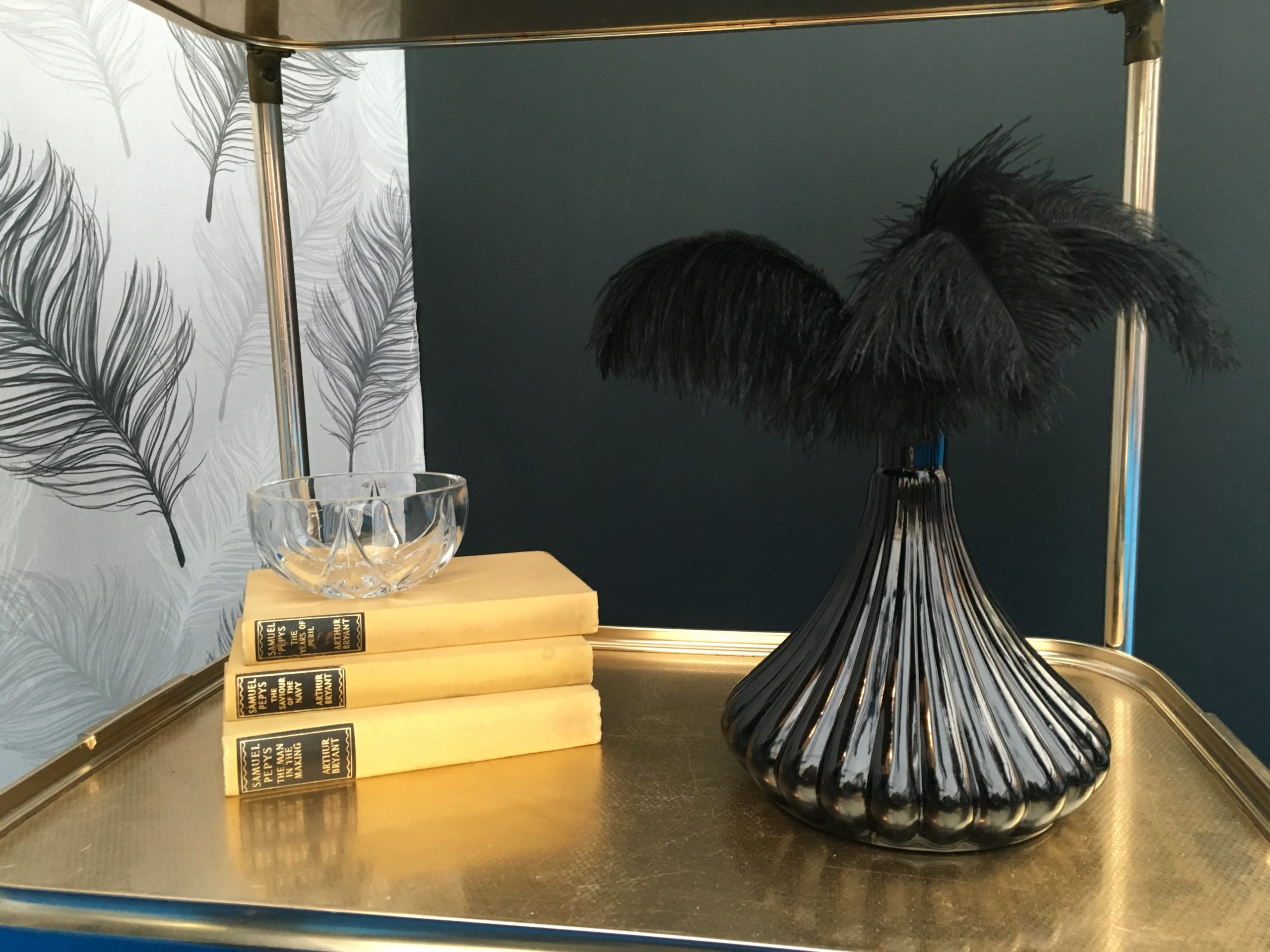 Black decanter from BIBA and black ostrich feathers used to dress retro hostess gin trolley