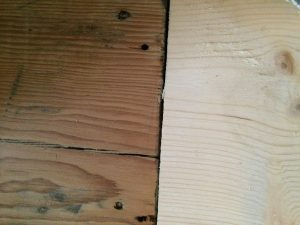 Old and new floorboards