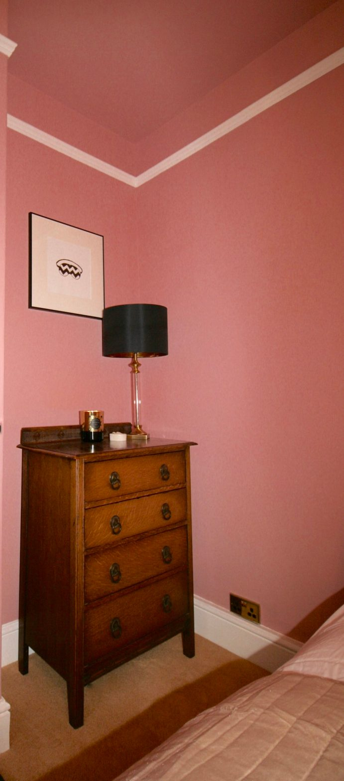 Mid century modern chest of drawers in pink bedroom designed by Amelia Wilson Interiors Ltd