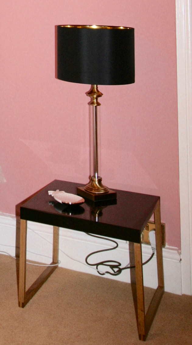 Wood and black metal top bedside table from Habitat