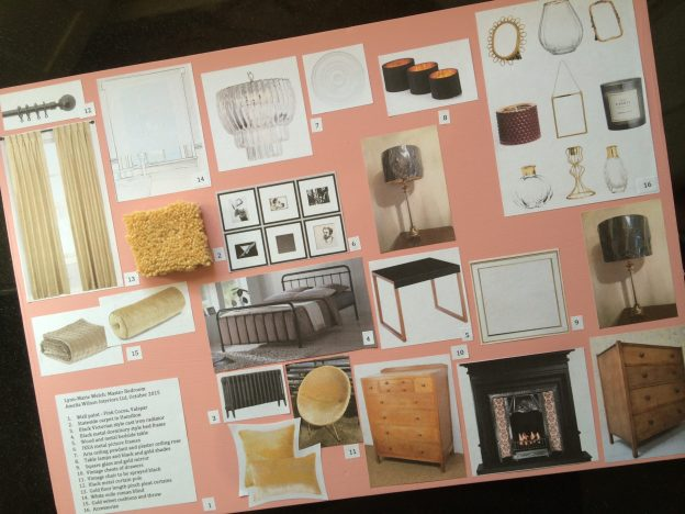 Mood board for pink bedroom prepared by Amelia Wilson Interiors Ltd