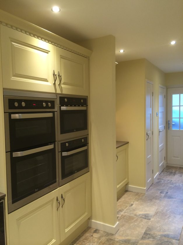Two ovens, microwave and plate warmer at eye level