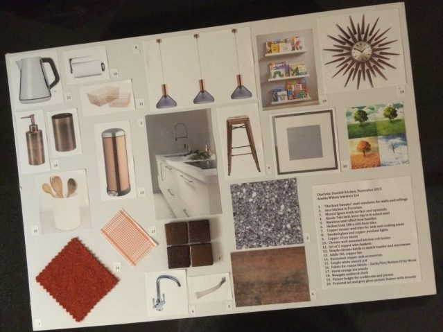 Mood board for contemporary kitchen with industrial and vintage elements by Amelia Wilson Interiors Ltd