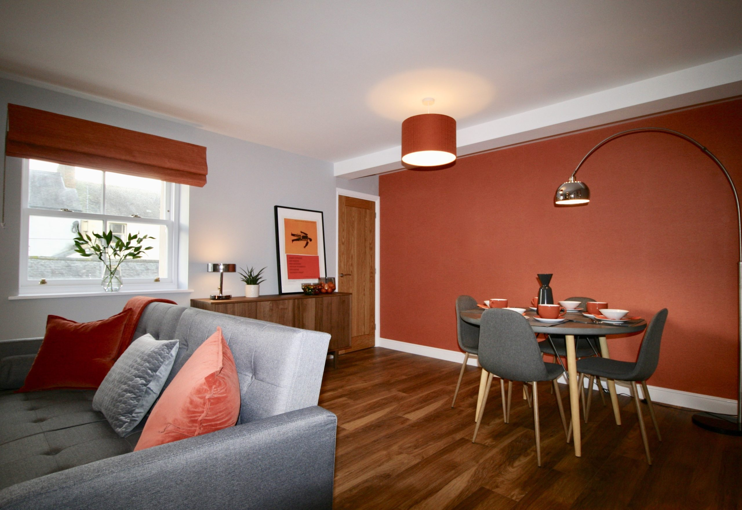 Open plan living dining room in show home at John Dalton Building apartments on Challoner Street in Cockermouth