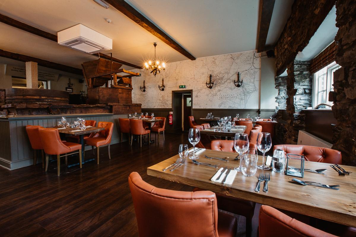 Restaurant at The Mill at Ulverston gastropub Cumbria interior design by Amelia Wilson Interiors Ltd