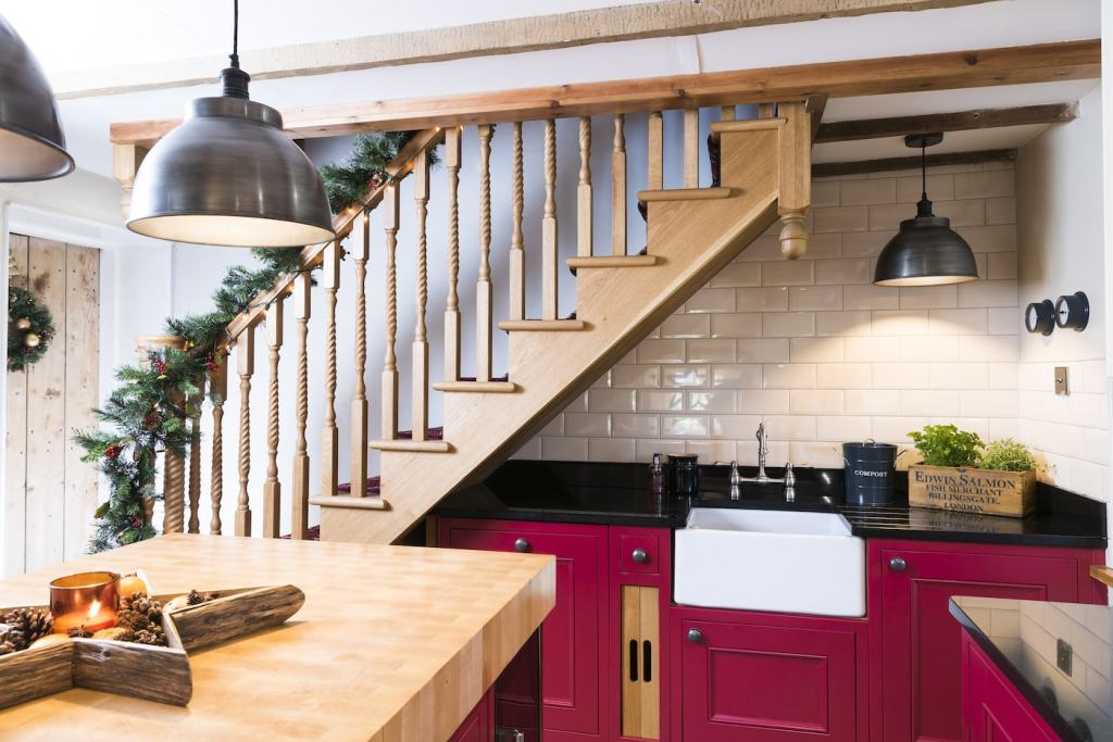 Kitchen and staircase in private residence
