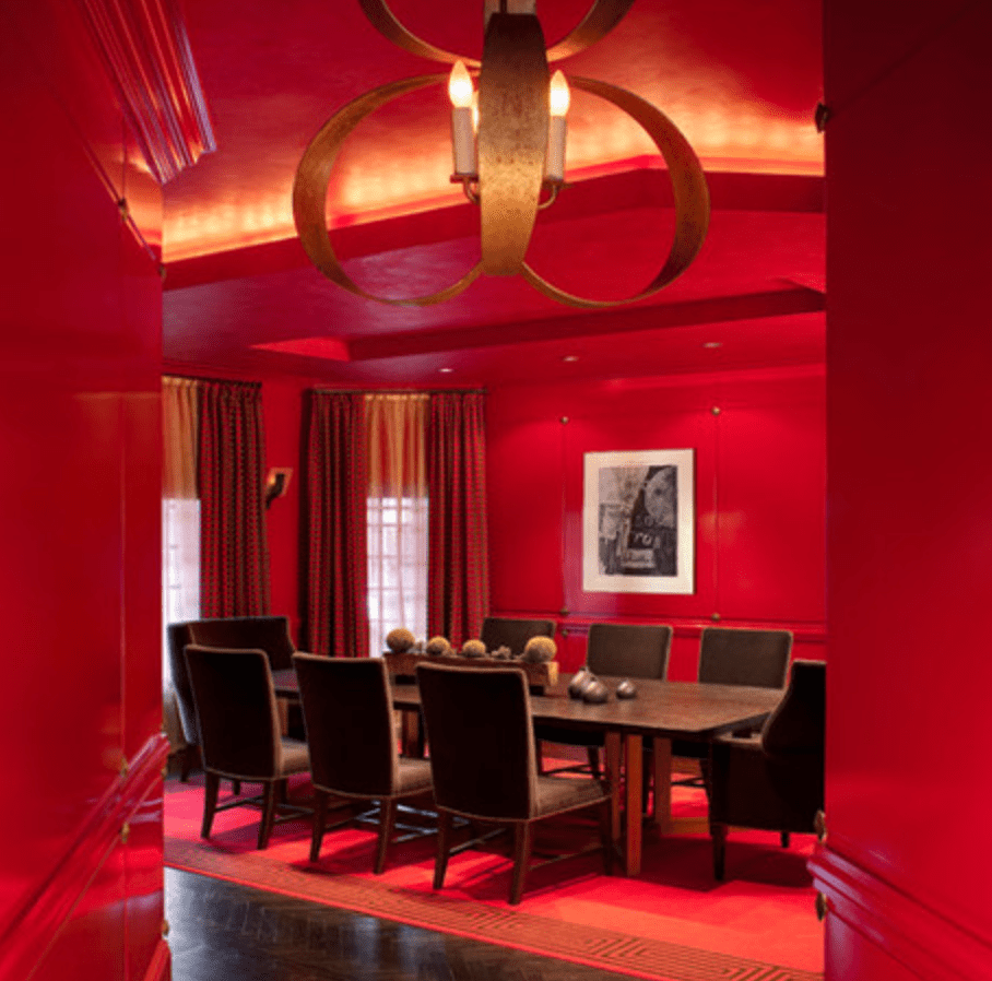 Dramatic red dining room by Contemporary Gem