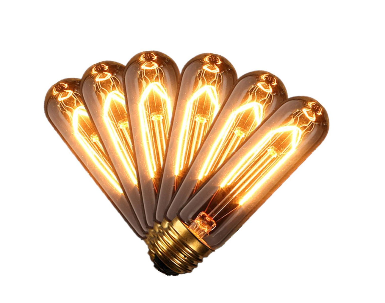 KINGSO 6 pack of E27 T10 60W Vintage Edison style carbon filament lightbulbs