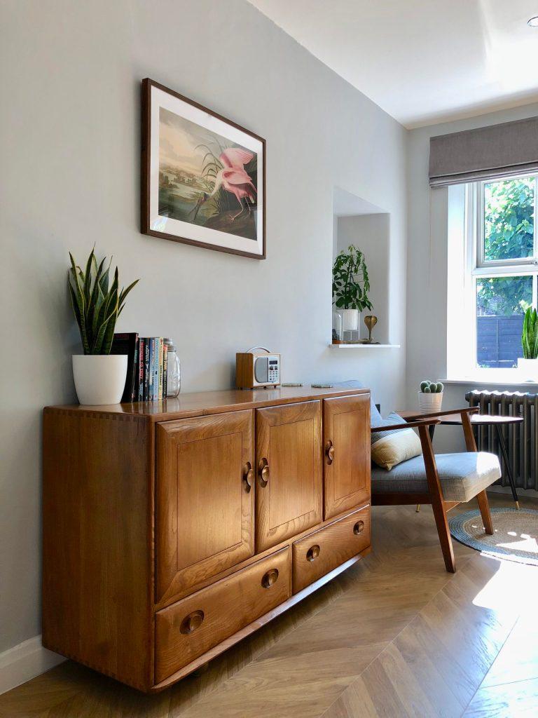 interior design chevron floor midcentury style dining room